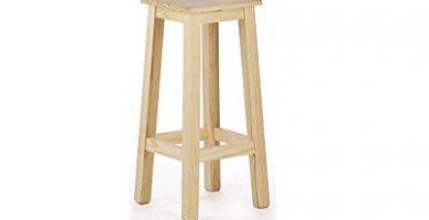 taburete alto de madera